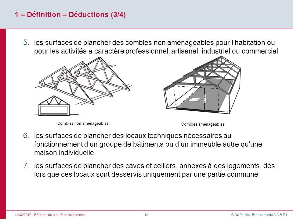 © De Pardieu Brocas Maffei A.A.R.P.I. 1 – Définition – Déductions (3/4) 5. les surfaces de plancher des combles non aménageables pour lhabitation ou p