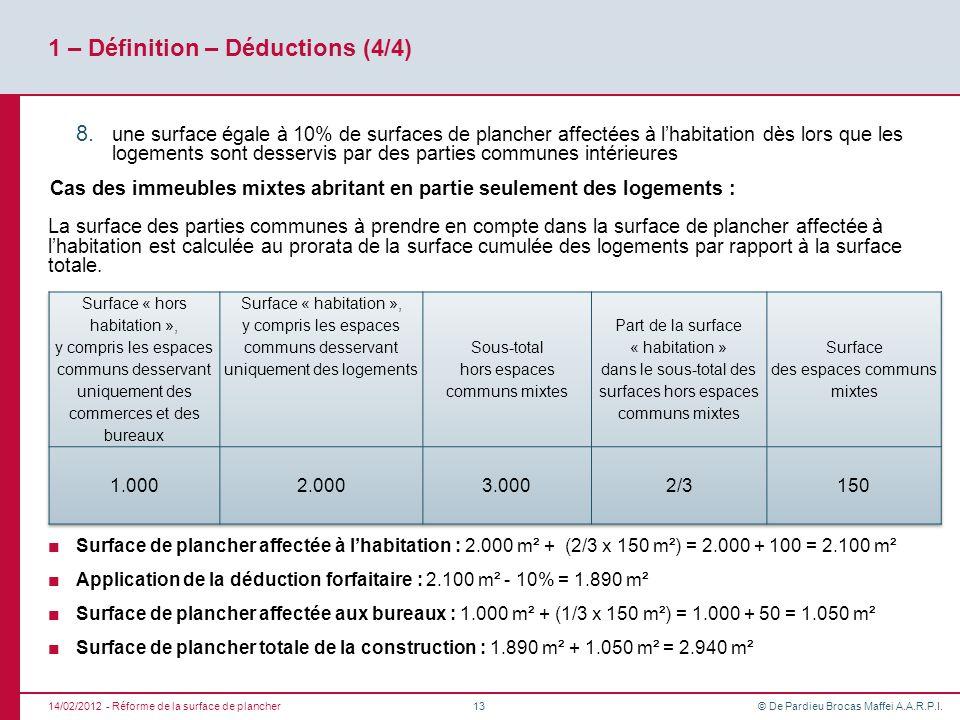 © De Pardieu Brocas Maffei A.A.R.P.I. 1 – Définition – Déductions (4/4) 8. une surface égale à 10% de surfaces de plancher affectées à lhabitation dès