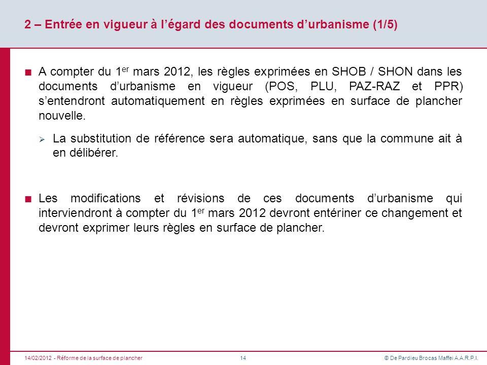 © De Pardieu Brocas Maffei A.A.R.P.I. 2 – Entrée en vigueur à légard des documents durbanisme (1/5) A compter du 1 er mars 2012, les règles exprimées
