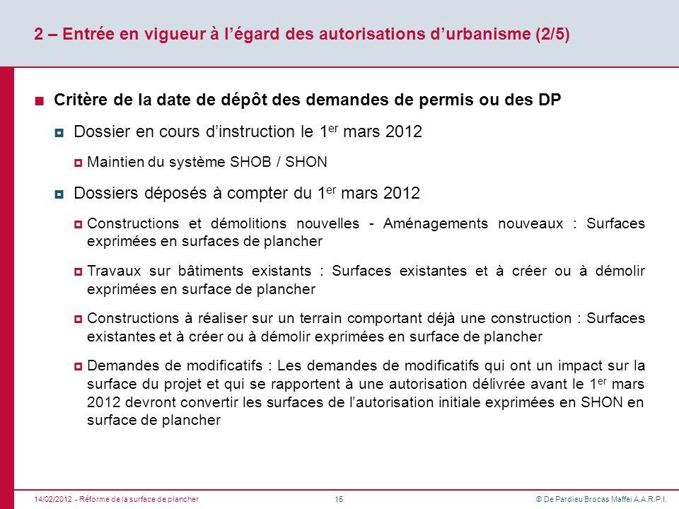 © De Pardieu Brocas Maffei A.A.R.P.I. 2 – Entrée en vigueur à légard des autorisations durbanisme (2/5) Critère de la date de dépôt des demandes de pe