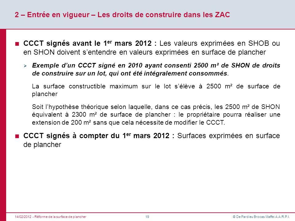 © De Pardieu Brocas Maffei A.A.R.P.I. 2 – Entrée en vigueur – Les droits de construire dans les ZAC CCCT signés avant le 1 er mars 2012 : Les valeurs