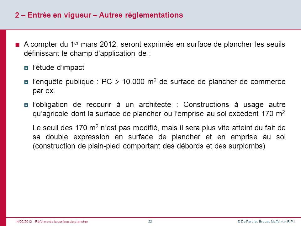 © De Pardieu Brocas Maffei A.A.R.P.I. 2 – Entrée en vigueur – Autres réglementations A compter du 1 er mars 2012, seront exprimés en surface de planch