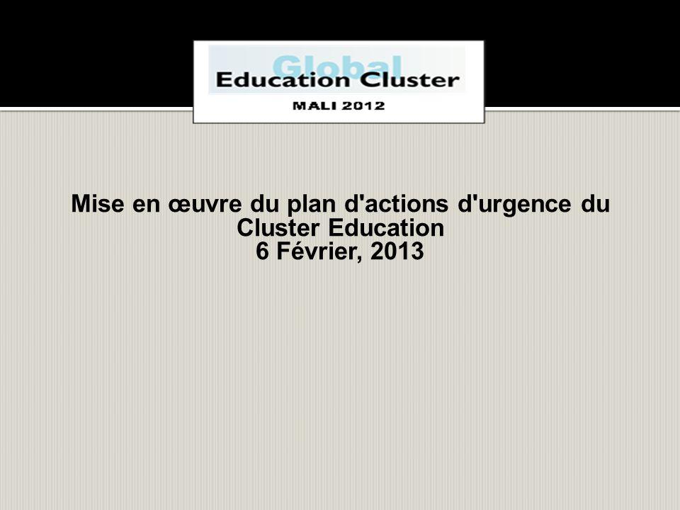 Mise en œuvre du plan d'actions d'urgence du Cluster Education 6 Février, 2013