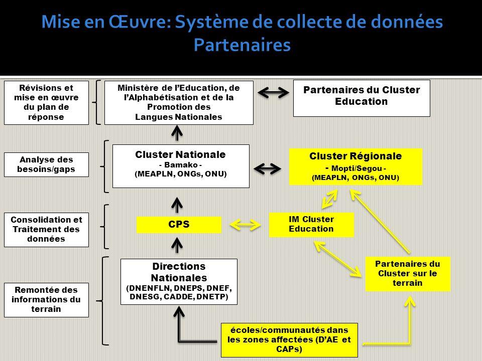 écoles/communautés dans les zones affectées (DAE et CAPs) CPS IM Cluster Education Directions Nationales (DNENFLN, DNEPS, DNEF, DNESG, CADDE, DNETP) R
