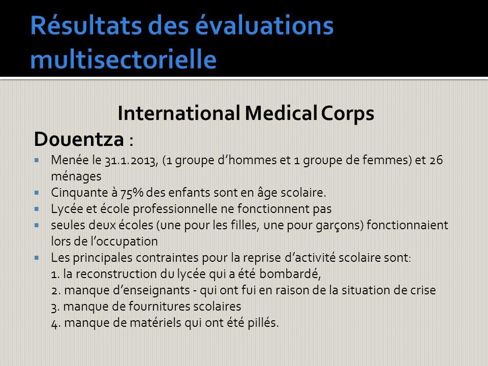 International Medical Corps D0uentza : Menée le 31.1.2013, (1 groupe dhommes et 1 groupe de femmes) et 26 ménages Cinquante à 75% des enfants sont en