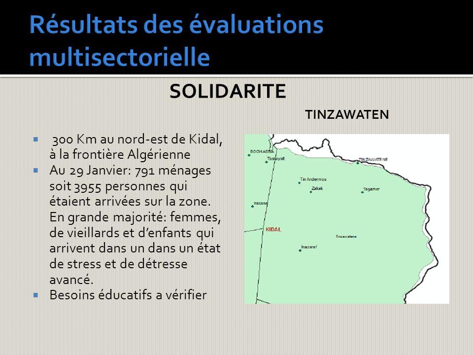 SOLIDARITE 300 Km au nord-est de Kidal, à la frontière Algérienne Au 29 Janvier: 791 ménages soit 3955 personnes qui étaient arrivées sur la zone. En