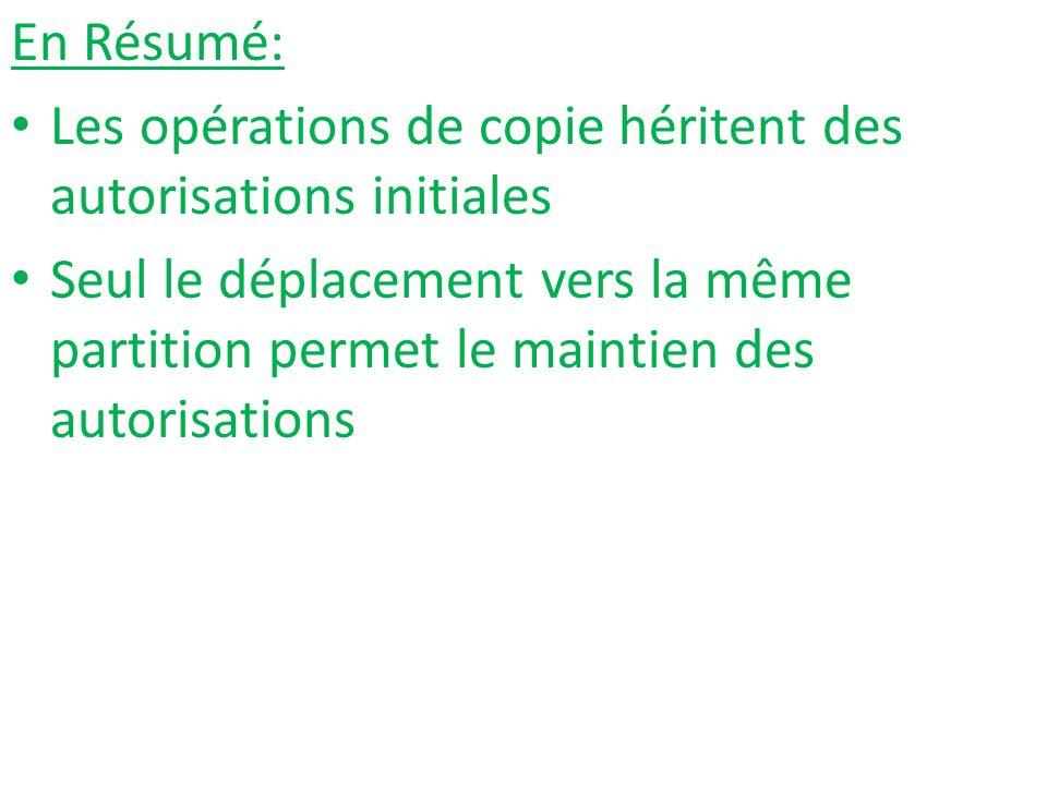 En Résumé: Les opérations de copie héritent des autorisations initiales Seul le déplacement vers la même partition permet le maintien des autorisation