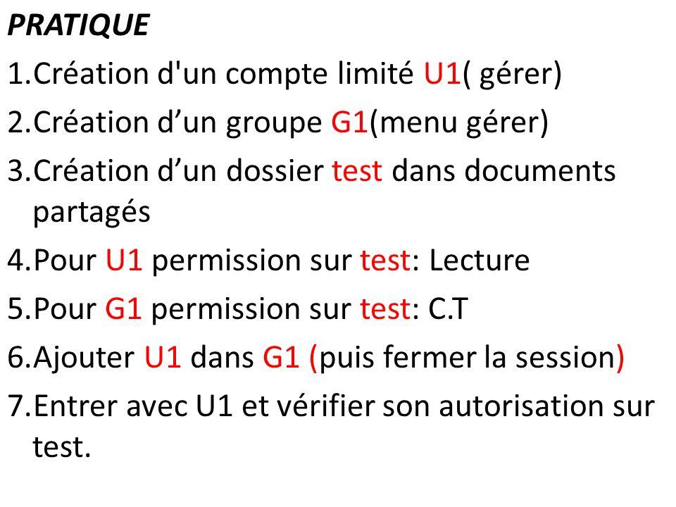 PRATIQUE 1.Création d'un compte limité U1( gérer) 2.Création dun groupe G1(menu gérer) 3.Création dun dossier test dans documents partagés 4.Pour U1 p