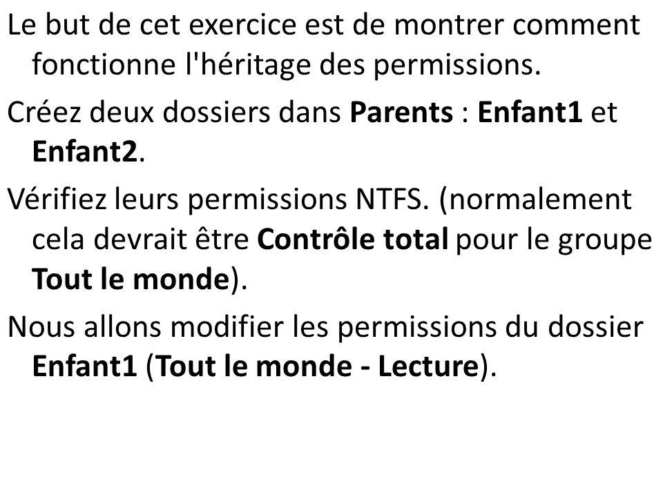 Le but de cet exercice est de montrer comment fonctionne l'héritage des permissions. Créez deux dossiers dans Parents : Enfant1 et Enfant2. Vérifiez l