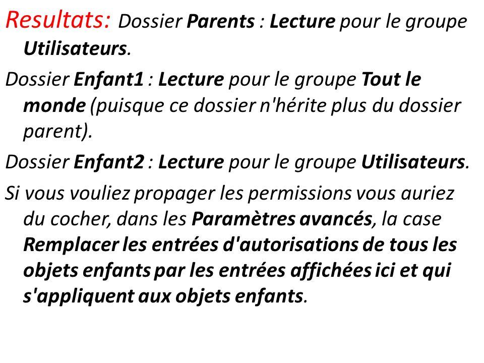 Resultats: Dossier Parents : Lecture pour le groupe Utilisateurs. Dossier Enfant1 : Lecture pour le groupe Tout le monde (puisque ce dossier n'hérite
