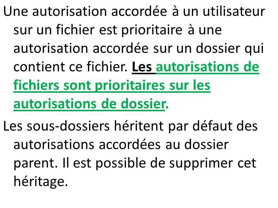 Une autorisation accordée à un utilisateur sur un fichier est prioritaire à une autorisation accordée sur un dossier qui contient ce fichier. Les auto