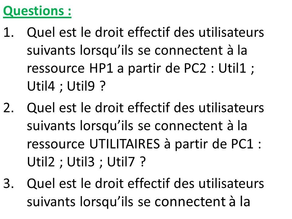 Questions : 1.Quel est le droit effectif des utilisateurs suivants lorsquils se connectent à la ressource HP1 a partir de PC2 : Util1 ; Util4 ; Util9
