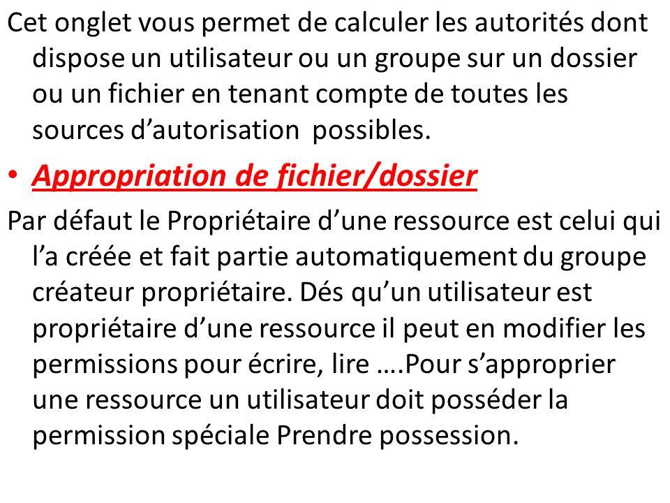 Pour sapproprier une ressource un utilisateur doit posséder la permission spéciale Prendre possession.
