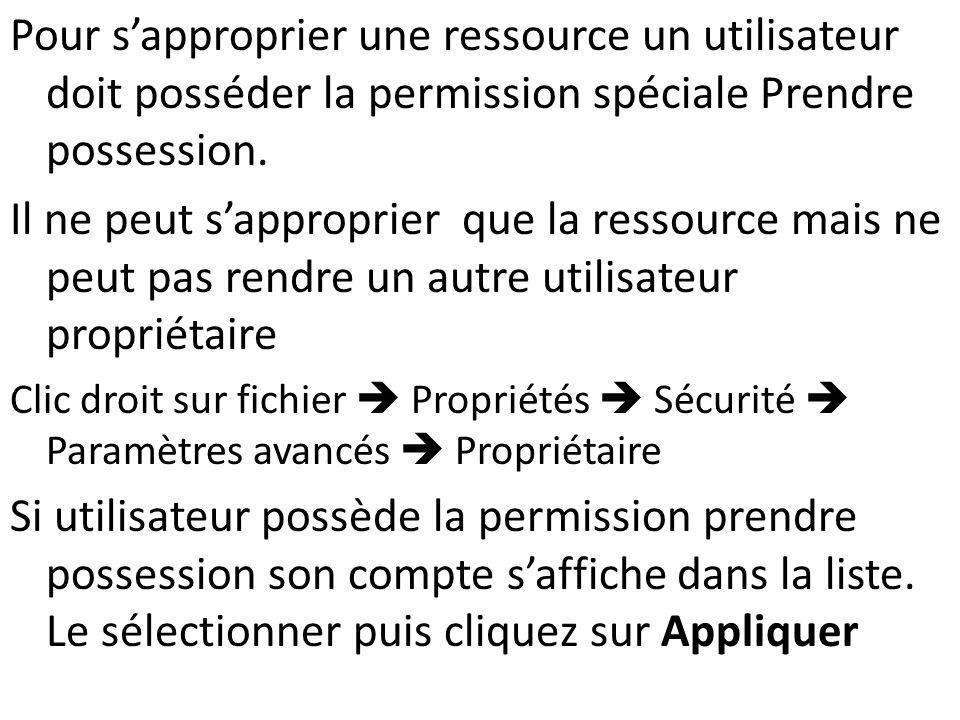 Pour sapproprier une ressource un utilisateur doit posséder la permission spéciale Prendre possession. Il ne peut sapproprier que la ressource mais ne