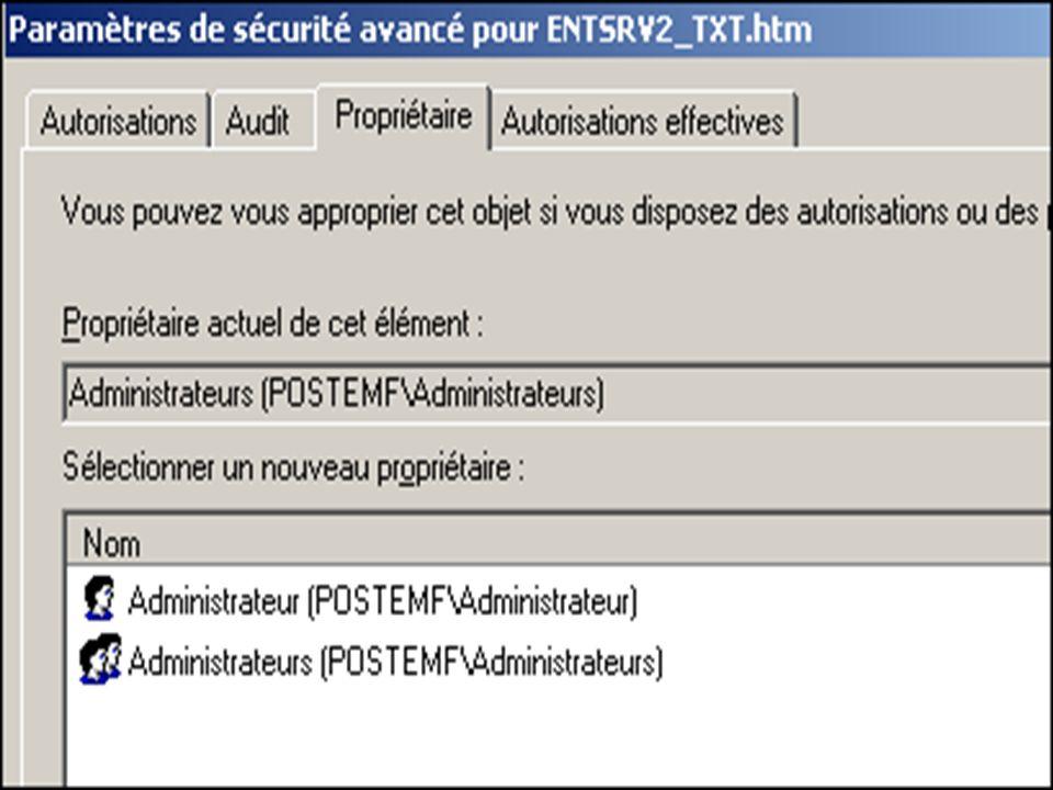 Paramètres de sécurité avancées – Appropriation - Par défaut les Administrateurs sont toujours présents à la candidature pour lappropriation dun fichier ou du dossier.