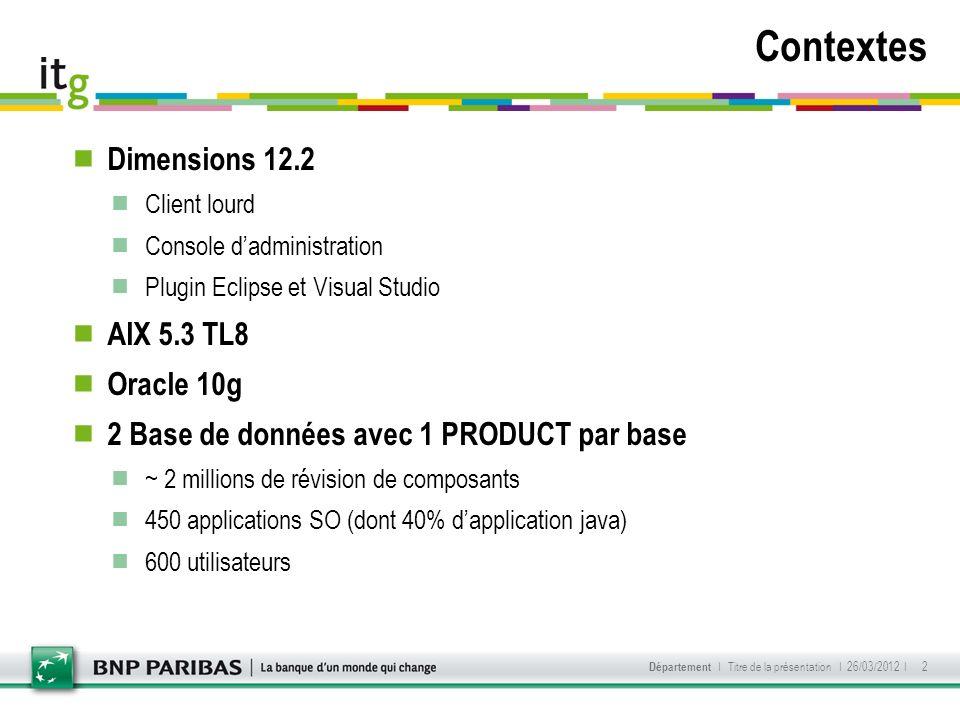 Dimensions 12.2 Client lourd Console dadministration Plugin Eclipse et Visual Studio AIX 5.3 TL8 Oracle 10g 2 Base de données avec 1 PRODUCT par base