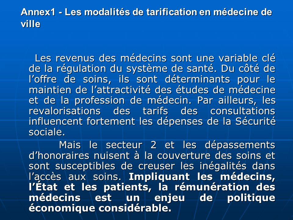 Annex1 - Les modalités de tarification en médecine de ville Les revenus des médecins sont une variable clé de la régulation du système de santé. Du cô