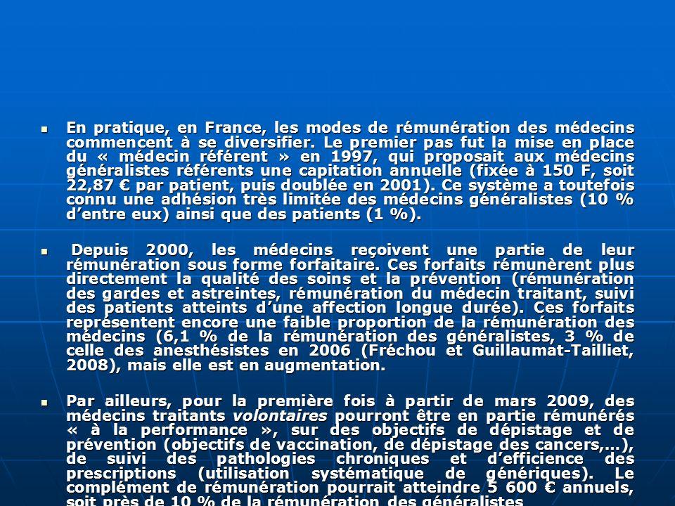 En pratique, en France, les modes de rémunération des médecins commencent à se diversifier. Le premier pas fut la mise en place du « médecin référent