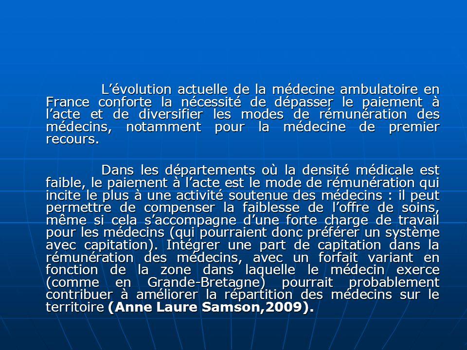Lévolution actuelle de la médecine ambulatoire en France conforte la nécessité de dépasser le paiement à lacte et de diversifier les modes de rémunéra
