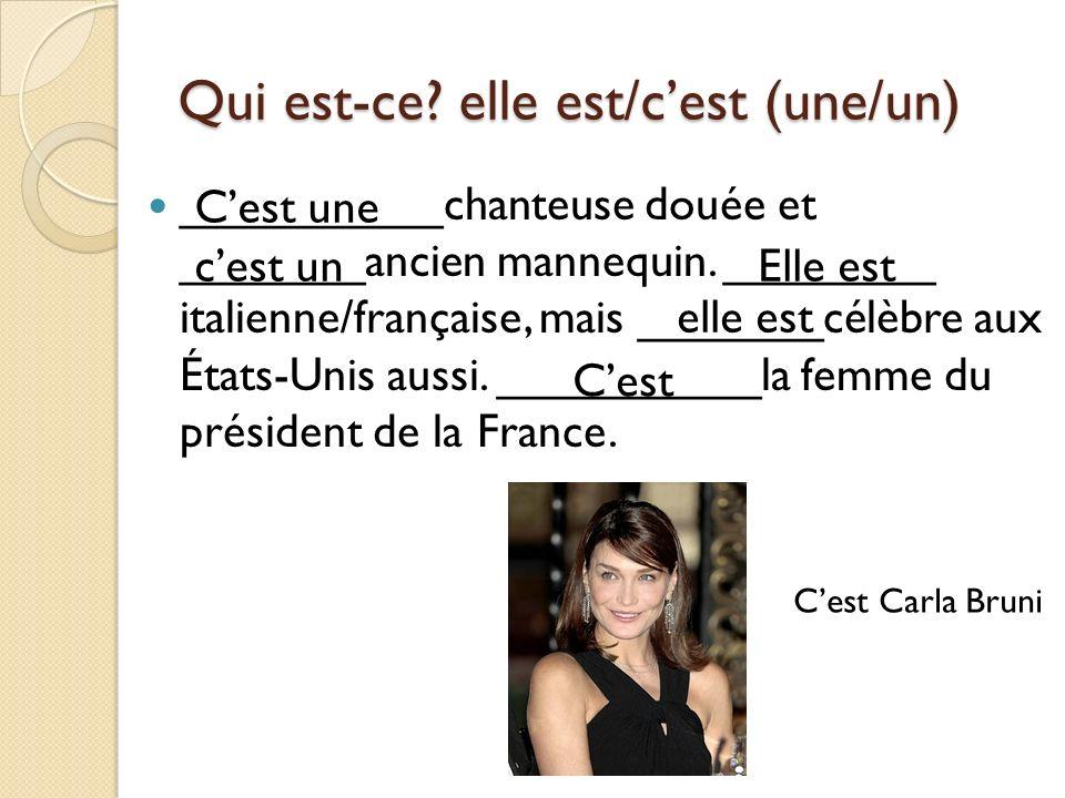 Qui est-ce? elle est/cest (une/un) __________chanteuse douée et _______ancien mannequin. ________ italienne/française, mais _______célèbre aux États-U