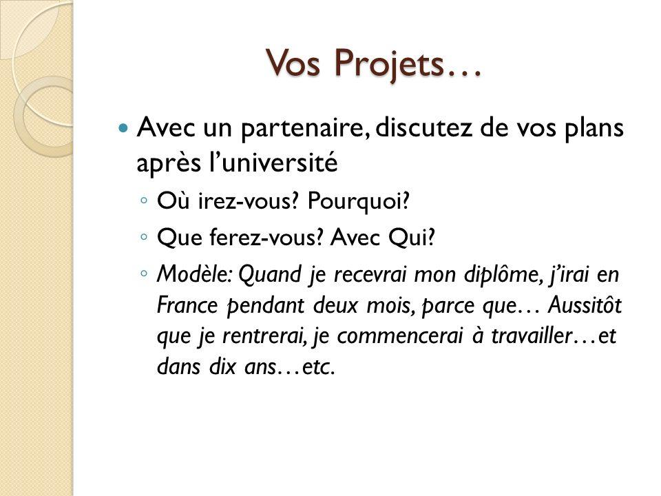 Intérro: futur simple Je / sennuyer / au musée Quand tu / avoir / de largent / tu / aller / à Lyon.