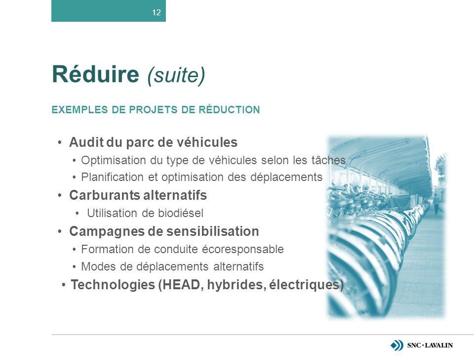 Réduire (suite) EXEMPLES DE PROJETS DE RÉDUCTION Audit du parc de véhicules Optimisation du type de véhicules selon les tâches Planification et optimisation des déplacements Carburants alternatifs Utilisation de biodiésel Campagnes de sensibilisation Formation de conduite écoresponsable Modes de déplacements alternatifs Technologies (HEAD, hybrides, électriques) 12