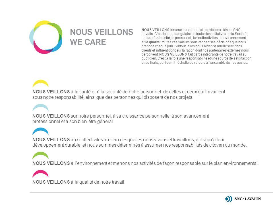 NOUS VEILLONS incarne les valeurs et convictions clés de SNC- Lavalin.