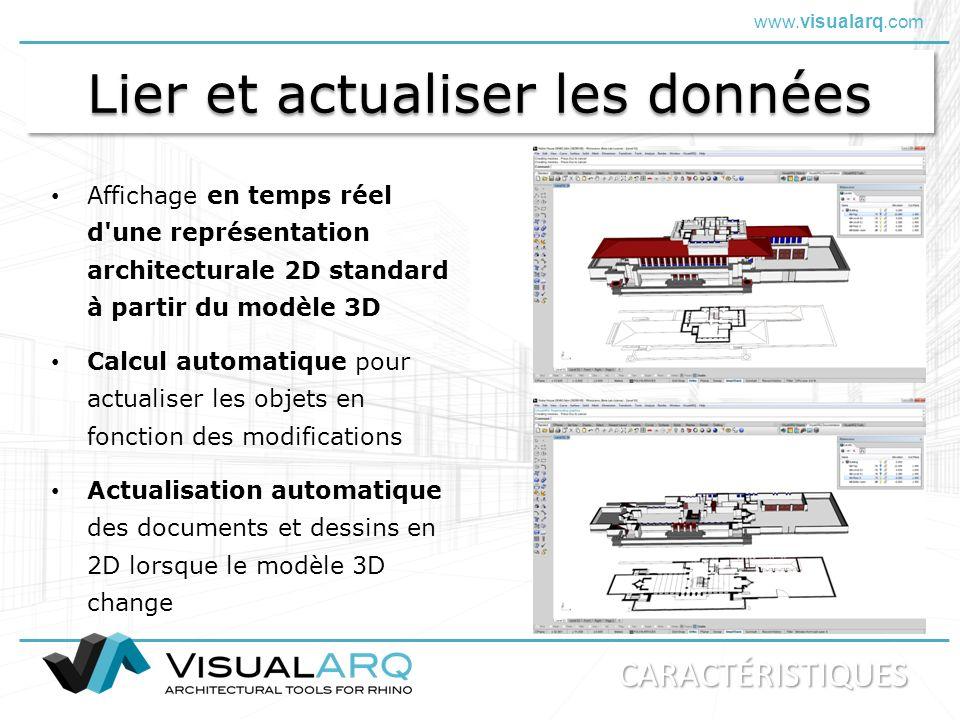 www.visualarq.com Lier et actualiser les données Actualisation automatique des documents et dessins en 2D lorsque le modèle 3D change Affichage en tem