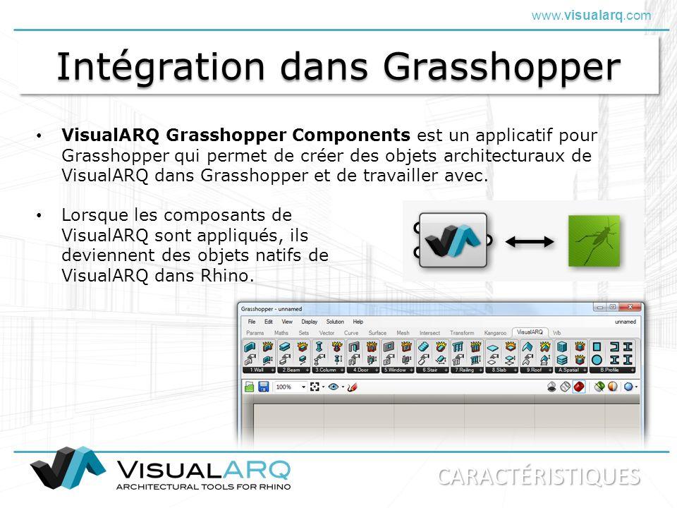 www.visualarq.com Intégration dans Grasshopper VisualARQ Grasshopper Components est un applicatif pour Grasshopper qui permet de créer des objets arch