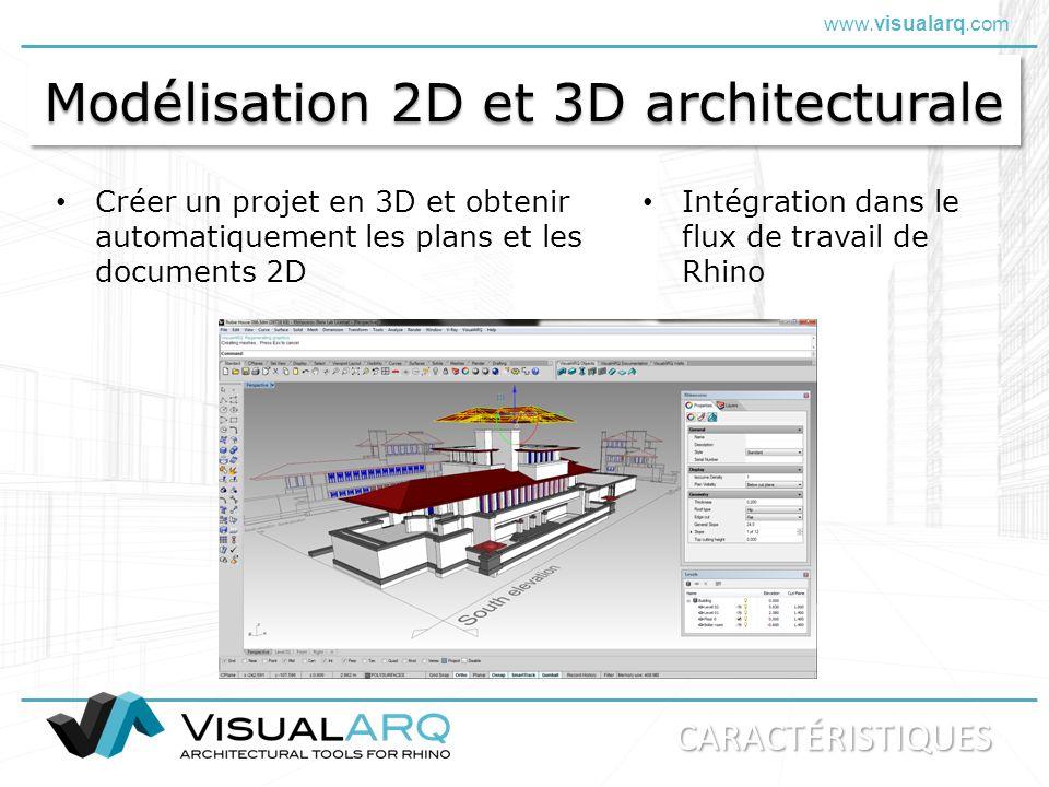 www.visualarq.com Modélisation 2D et 3D architecturale Créer un projet en 3D et obtenir automatiquement les plans et les documents 2D Intégration dans