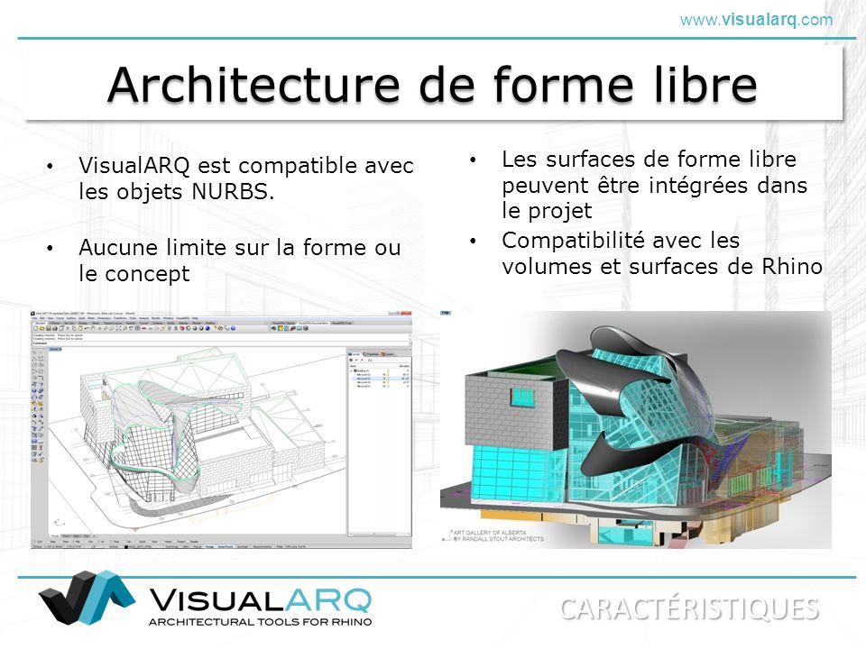 www.visualarq.com Architecture de forme libre VisualARQ est compatible avec les objets NURBS. Les surfaces de forme libre peuvent être intégrées dans