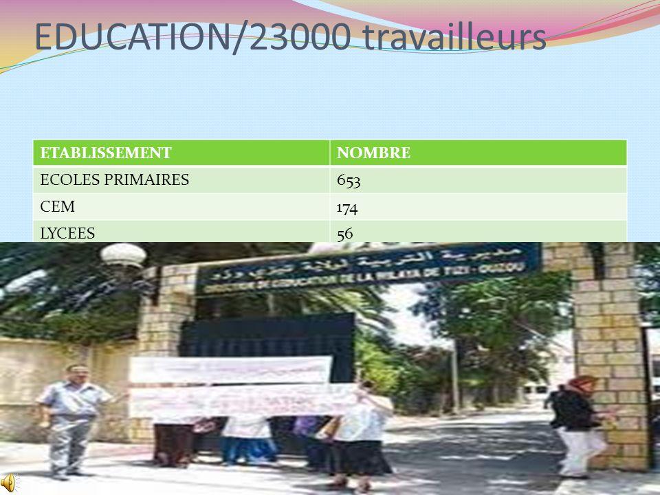 EDUCATION/23000 travailleurs ETABLISSEMENTNOMBRE ECOLES PRIMAIRES653 CEM174 LYCEES56 8