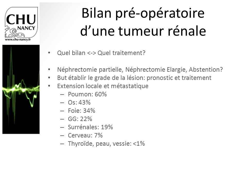 Bilan pré-opératoire dune tumeur rénale Quel bilan Quel traitement? Néphrectomie partielle, Néphrectomie Elargie, Abstention? But établir le grade de