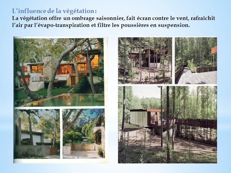 Linfluence de la végétation : La végétation offre un ombrage saisonnier, fait écran contre le vent, rafraîchit lair par lévapo-transpiration et filtre