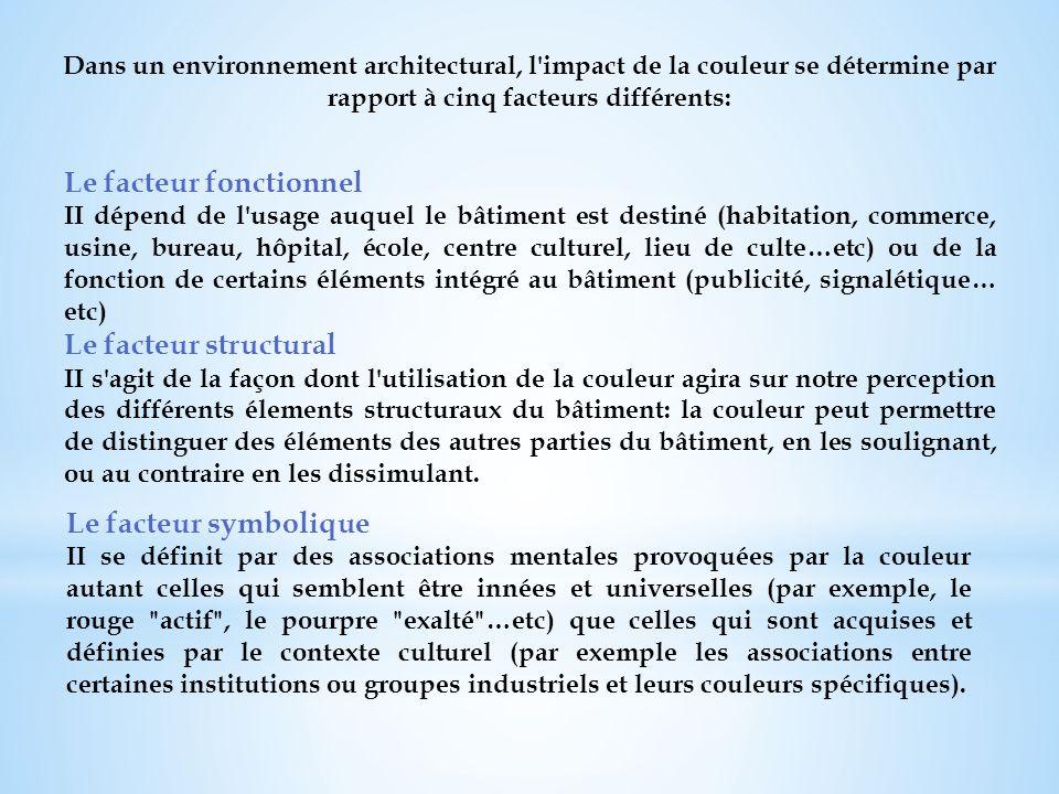 Dans un environnement architectural, l'impact de la couleur se détermine par rapport à cinq facteurs différents: Le facteur fonctionnel II dépend de l