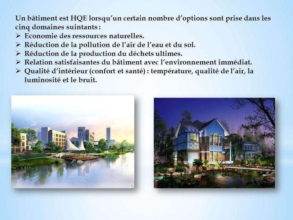 Un bâtiment est HQE lorsquun certain nombre doptions sont prise dans les cinq domaines suintants : Economie des ressources naturelles. Réduction de la