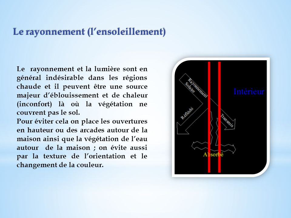 Le rayonnement (lensoleillement) Le rayonnement (lensoleillement) Le rayonnement et la lumière sont en général indésirable dans les régions chaude et