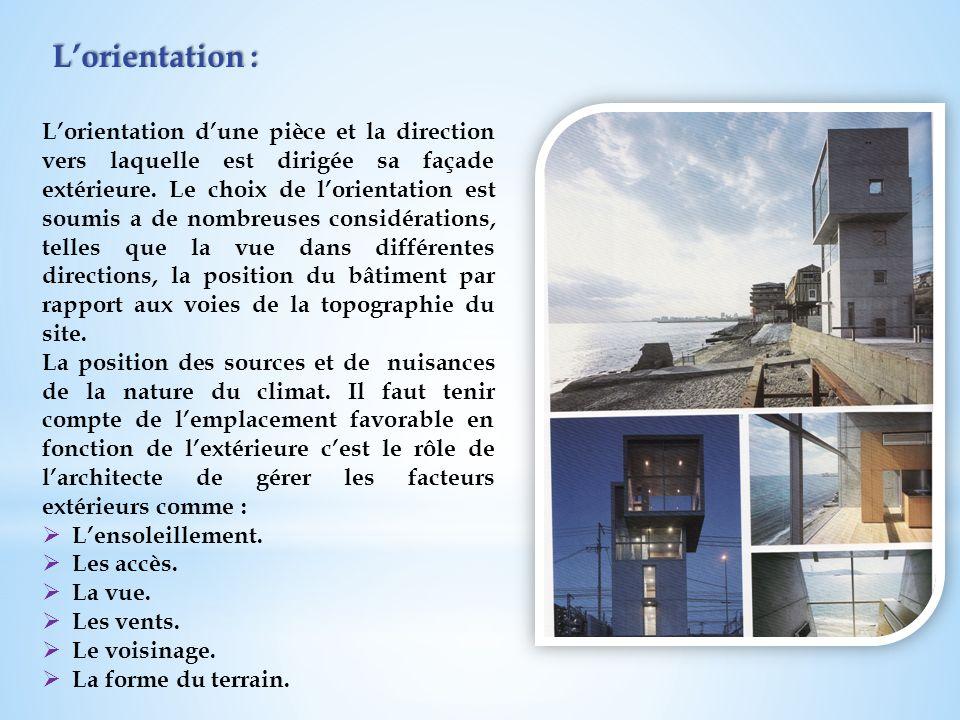 Lorientation : Lorientation dune pièce et la direction vers laquelle est dirigée sa façade extérieure. Le choix de lorientation est soumis a de nombre