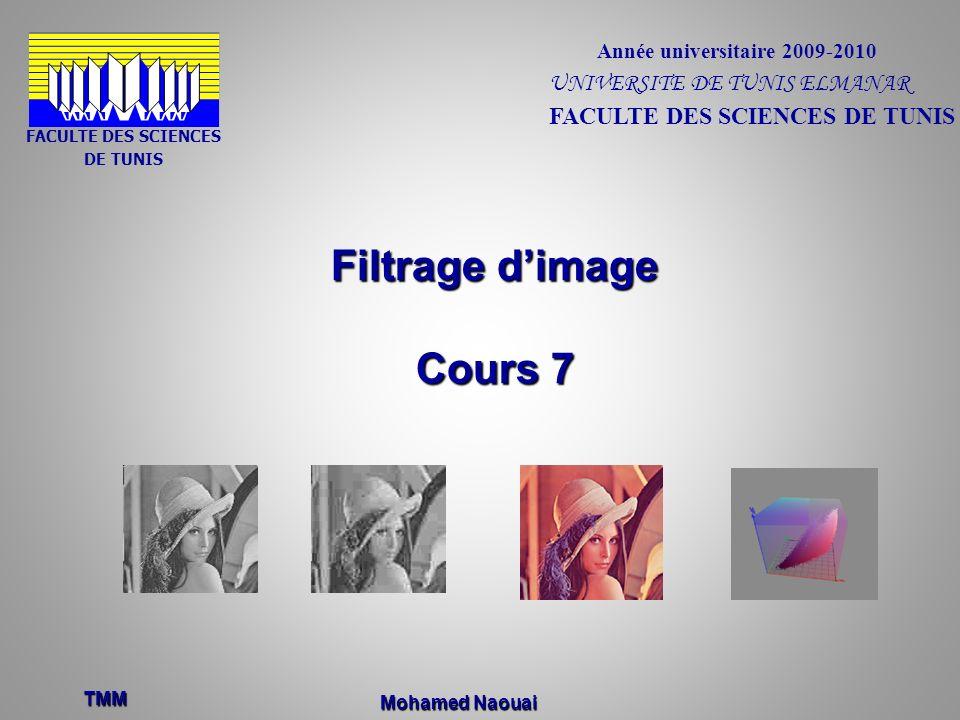 Filtrage dimage Cours 7 TMM Année universitaire 2009-2010 FACULTE DES SCIENCES DE TUNIS FACULTE DES SCIENCES DE TUNIS UNIVERSITE DE TUNIS ELMANAR Moha