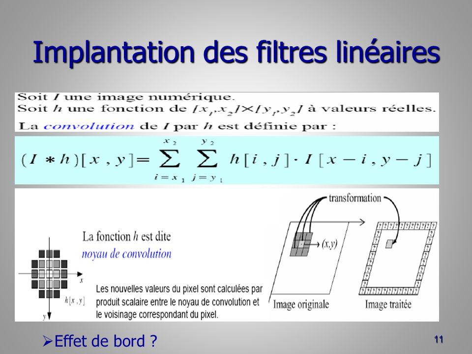 Implantation des filtres linéaires 11 Effet de bord ?