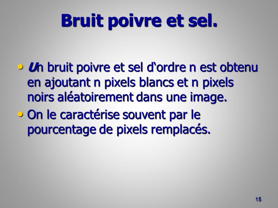 Bruit poivre et sel. Un bruit poivre et sel dordre n est obtenu en ajoutant n pixels blancs et n pixels noirs aléatoirement dans une image. Un bruit p