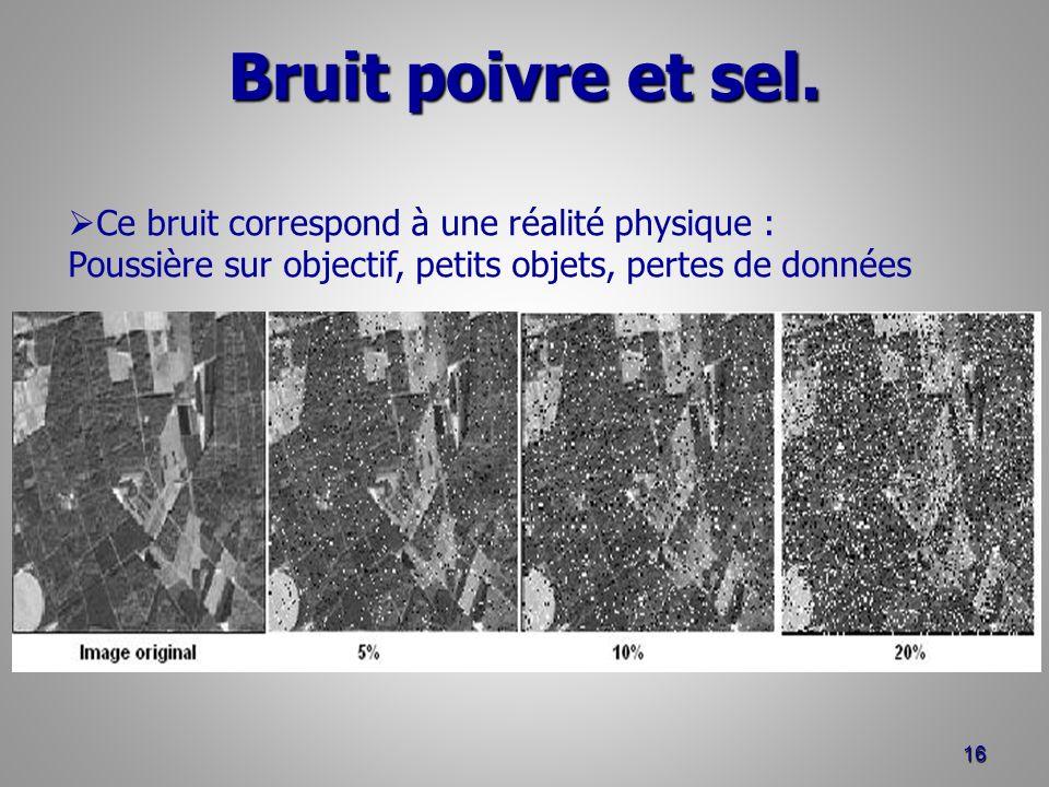 Bruit poivre et sel. 16 Ce bruit correspond à une réalité physique : Poussière sur objectif, petits objets, pertes de données