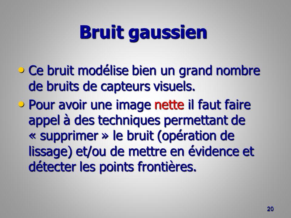 Bruit gaussien Bruit gaussien Ce bruit modélise bien un grand nombre de bruits de capteurs visuels. Ce bruit modélise bien un grand nombre de bruits d