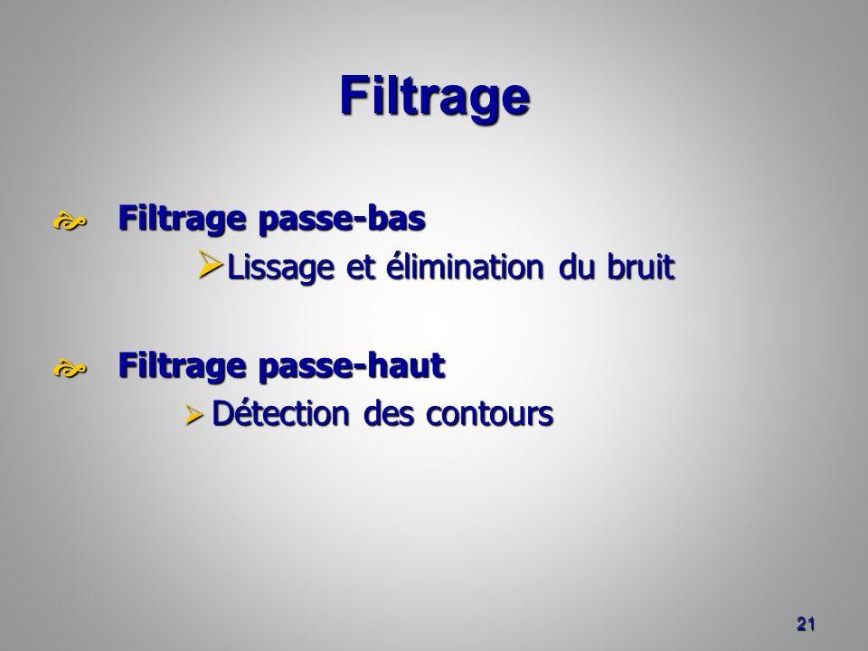 Filtrage Filtrage passe-bas Filtrage passe-bas Lissage et élimination du bruit Lissage et élimination du bruit Filtrage passe-haut Filtrage passe-haut