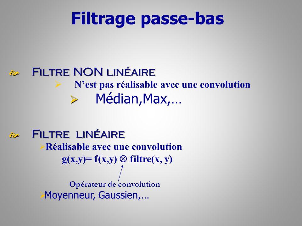 Filtrage passe-bas Filtre NON linéaire Filtre NON linéaire Nest pas réalisable avec une convolution Médian,Max,… Filtre linéaire Filtre linéaire Réali