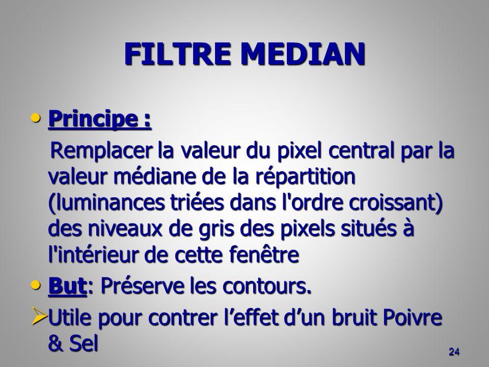 FILTRE MEDIAN Principe : Principe : Remplacer la valeur du pixel central par la valeur médiane de la répartition (luminances triées dans l'ordre crois