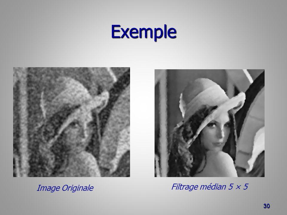 Exemple 30 Filtrage médian 5 × 5 Image Originale