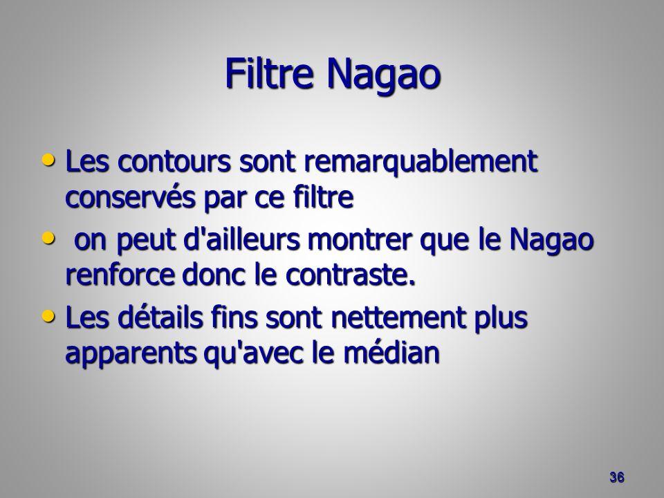 Filtre Nagao Les contours sont remarquablement conservés par ce filtre Les contours sont remarquablement conservés par ce filtre on peut d'ailleurs mo