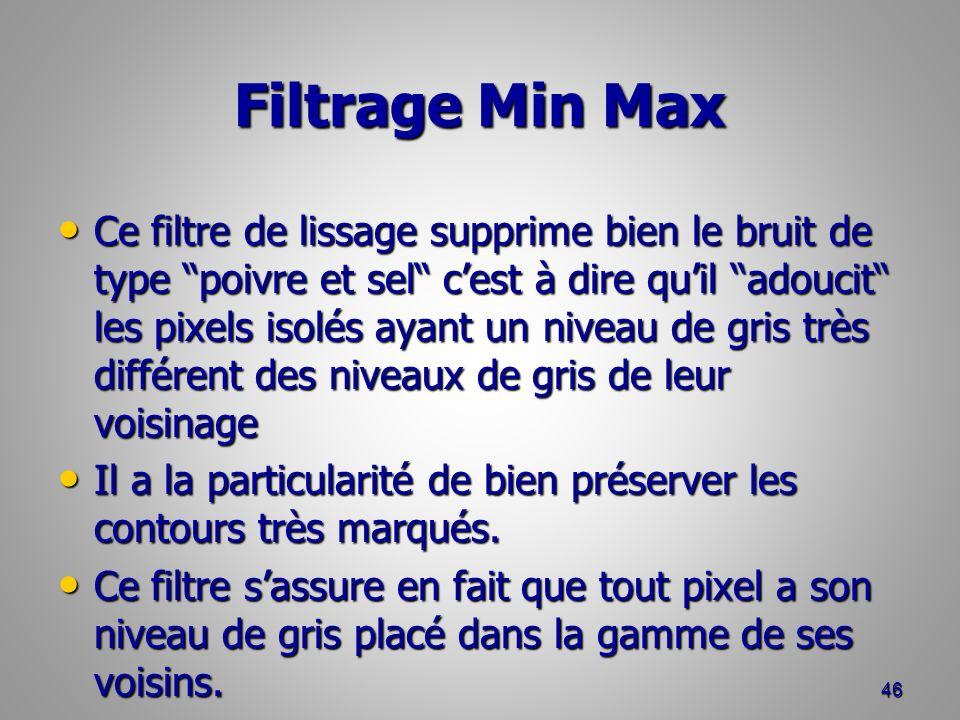 Filtrage Min Max Ce filtre de lissage supprime bien le bruit de type poivre et sel cest à dire quil adoucit les pixels isolés ayant un niveau de gris