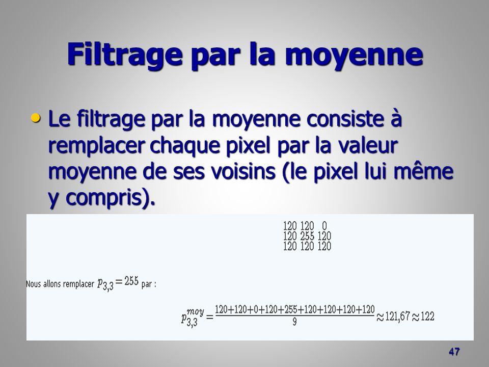 Filtrage par la moyenne Le filtrage par la moyenne consiste à remplacer chaque pixel par la valeur moyenne de ses voisins (le pixel lui même y compris